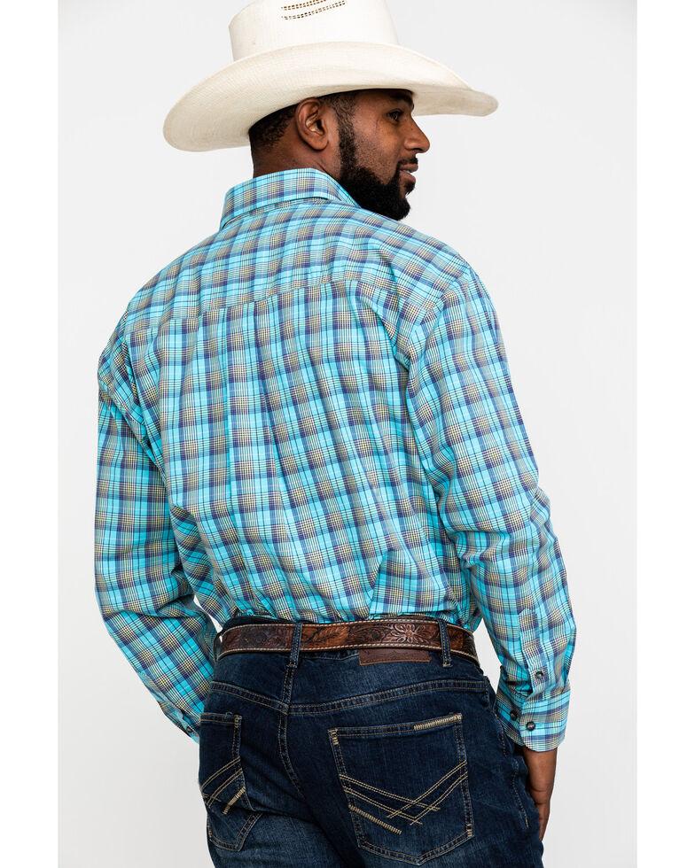 George Strait by Wrangler Men's Light Turquoise Plaid Long Sleeve Western Shirt , Turquoise, hi-res