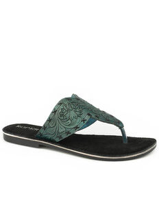 Roper Women's Tooled Turquoise Sandals, Blue, hi-res