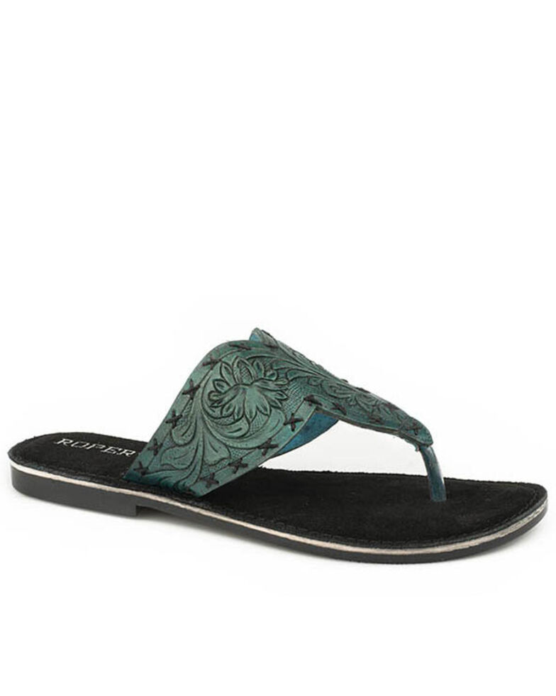 Roper Women's Tooled Turquoise Sandals, Blue, hi-res