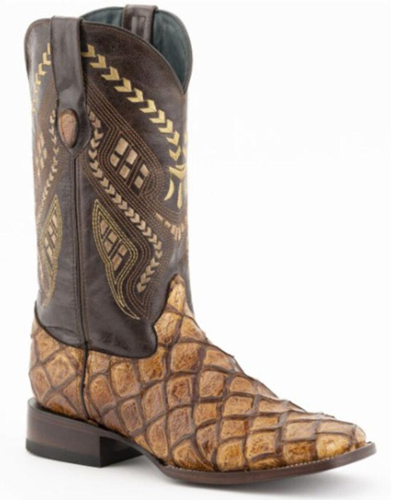 Ferrini Men's Bronco Pirarucu Print Western Boots - Wide Square Toe, Brown, hi-res