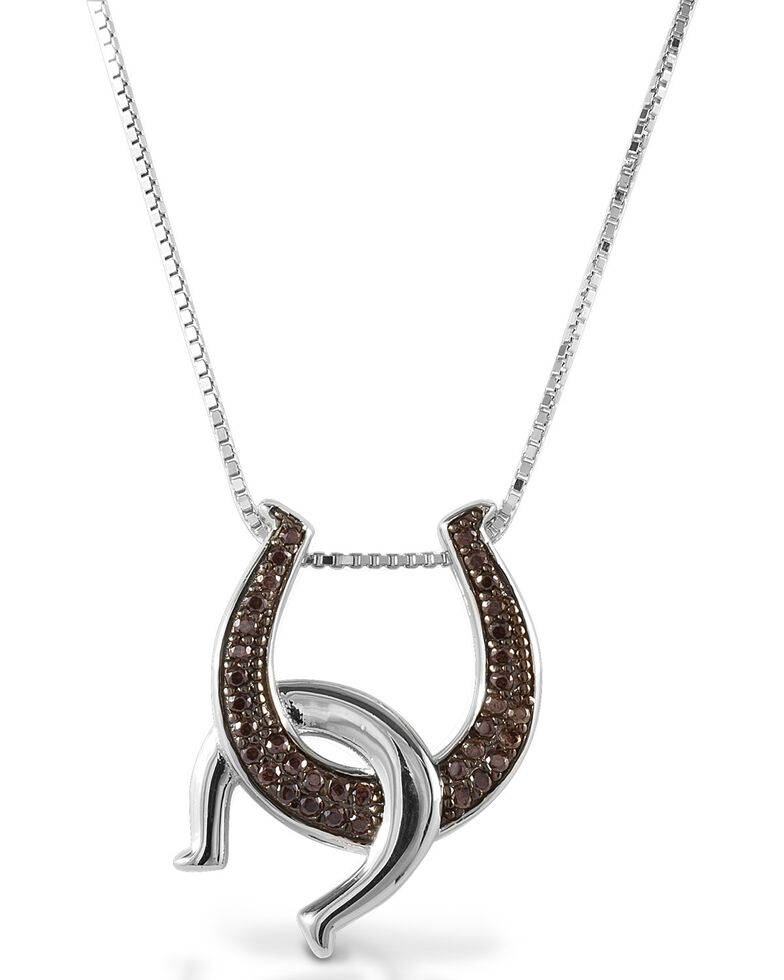 Kelly Herd Women's Cognac Double Horseshoe Necklace, Silver, hi-res