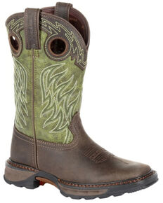 Durango Boys' Maverick XP Western Work Boots - Square Toe, Green/brown, hi-res