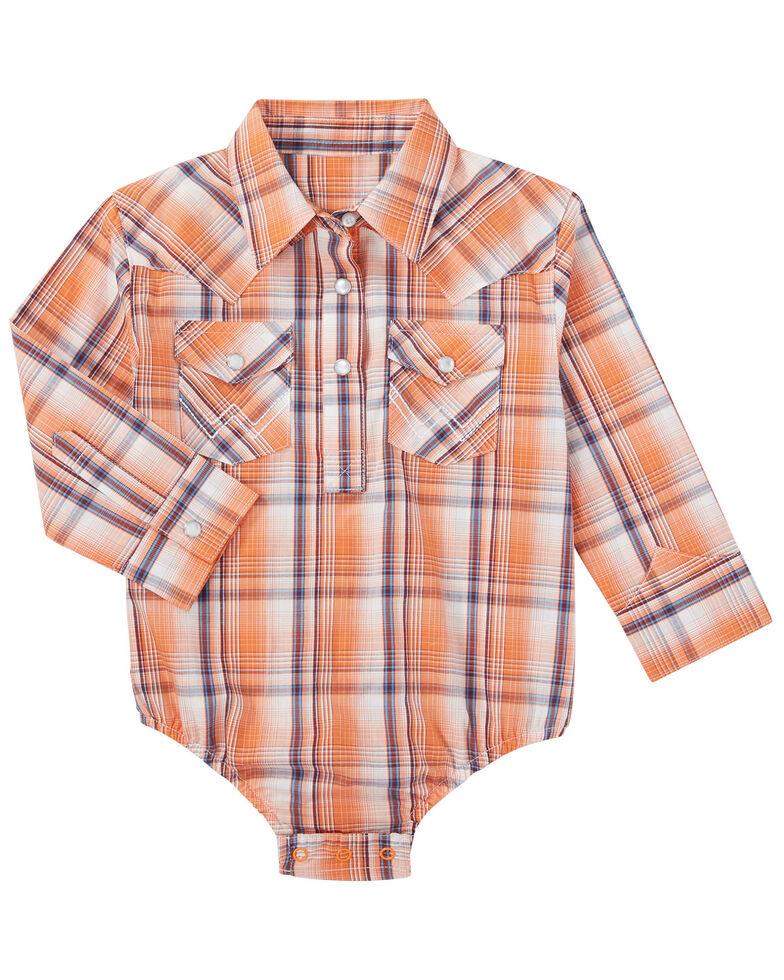 Wrangler Infant Boys' Orange Plaid Long Sleeve Snap Onesie , Orange, hi-res