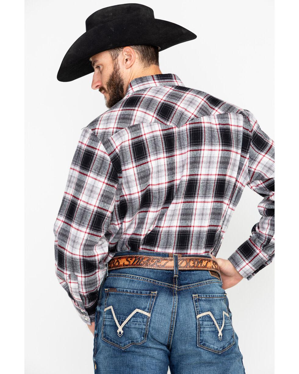 Ely Cattleman Men's Red 8.5 Oz Brawny Flannel Long Sleeve Western Shirt - Tall , Grey, hi-res