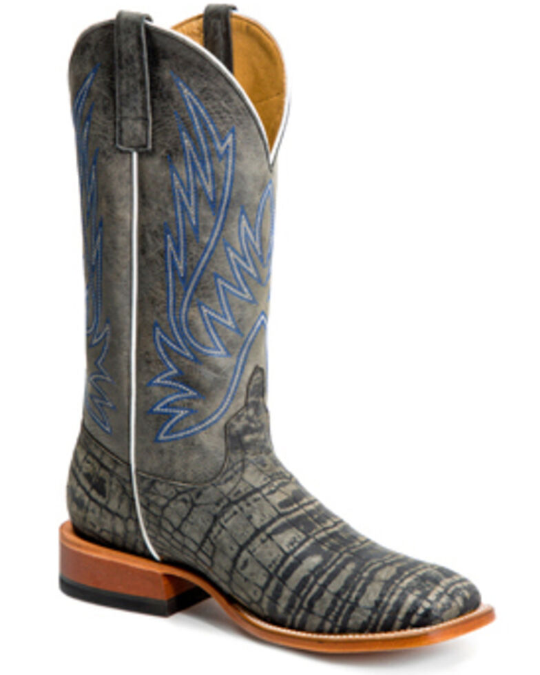 HorsePower Men's Coco Caiman Print Western Boots - Wide Square Toe, Grey, hi-res