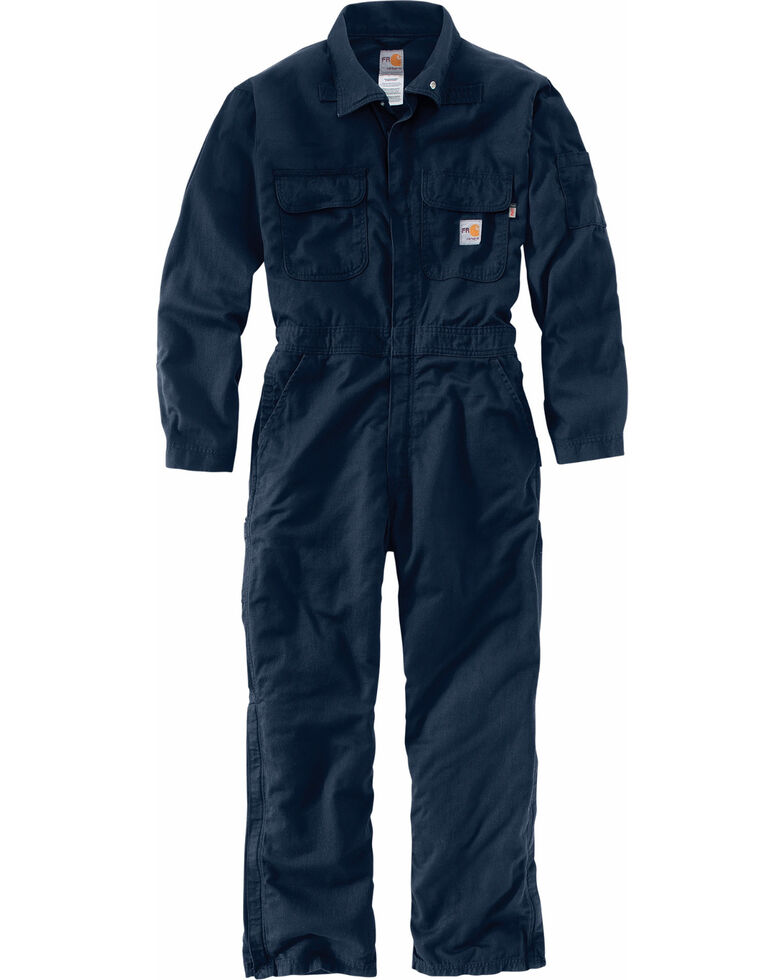 Carhartt Men's Flame-Resistant Deluxe Coveralls, Navy, hi-res