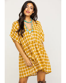 Show Me Your Mumu Women's Check Me Gold Odessa Dress, Dark Yellow, hi-res