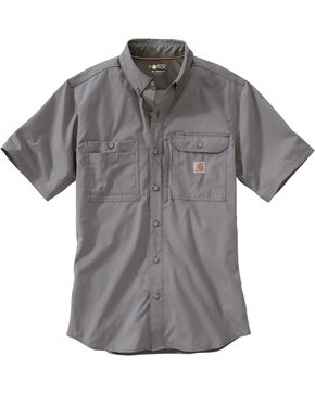 Carhartt Men's Charcoal Grey Force Ridgefield Solid Long Sleeve Shirt - Big & Tall, Charcoal Grey, hi-res