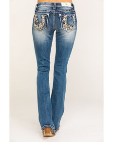Miss Me Women's Horseshoe Pocket Medium Boot Jeans , Blue, hi-res