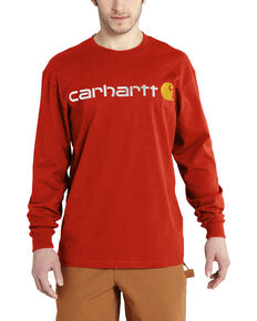 Carhartt Men's Long Sleeve Logo T-Shirt, Orange, hi-res