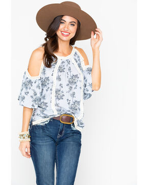 Shyanne Women's Floral Peasant Crochet Trim Cold Shoulder Top , Light Blue, hi-res
