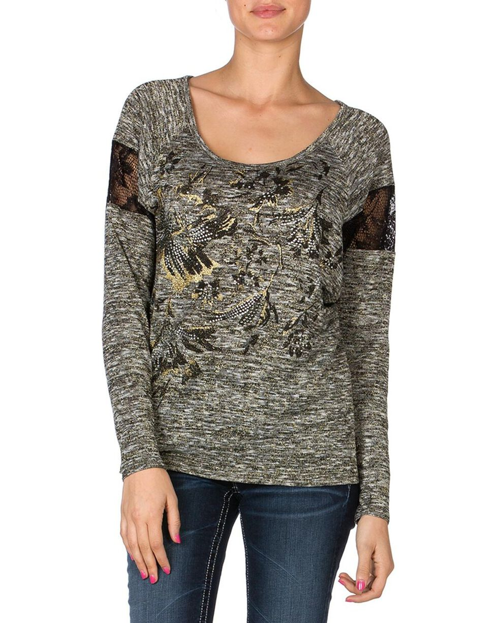 Miss Me Women's Metallic Floral Long Sleeve Shirt, Charcoal Grey, hi-res