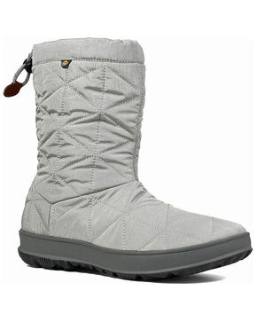 Bogs Women's Snowday Waterproof Winter Boots - Round Toe, Grey, hi-res