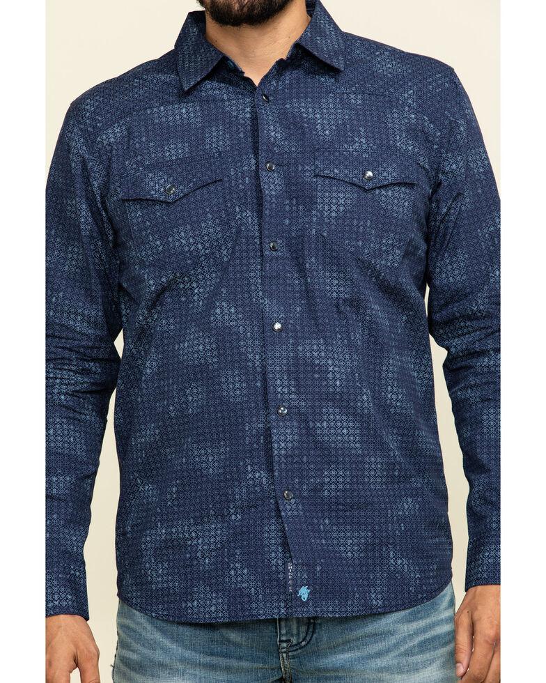 Moonshine Spirit Men's Floral Camo Print Long Sleeve Western Shirt , Navy, hi-res