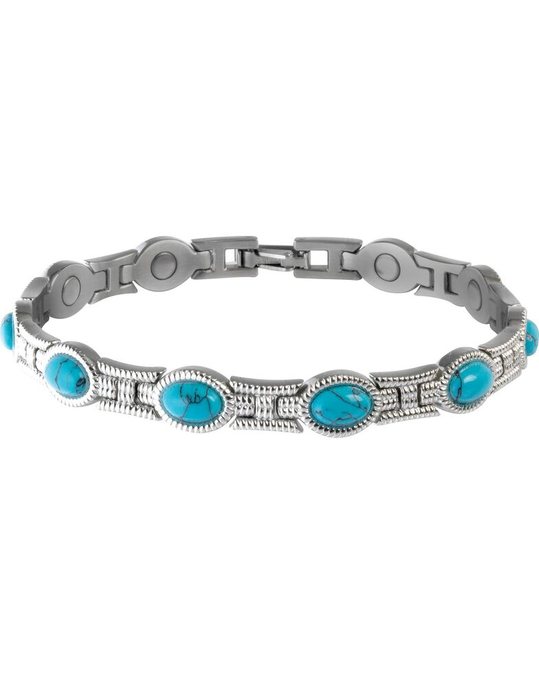 Sabona Ladies' Turquoise Magnetic Bracelet, Two Tone, hi-res