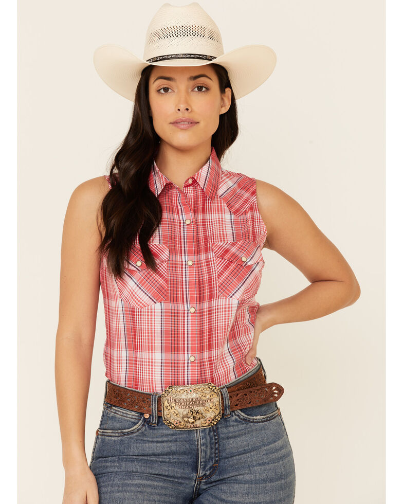 Wrangler Women's Red Plaid Sleeveless Snap Western Core Shirt , Red, hi-res