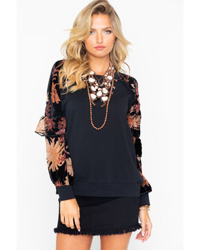 Miss Me Women's Floral Sleeve Sweater, Black, hi-res