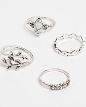 Shyanne Women's Bella Leaf Wrap 4 Pack Ring Set, Silver, hi-res