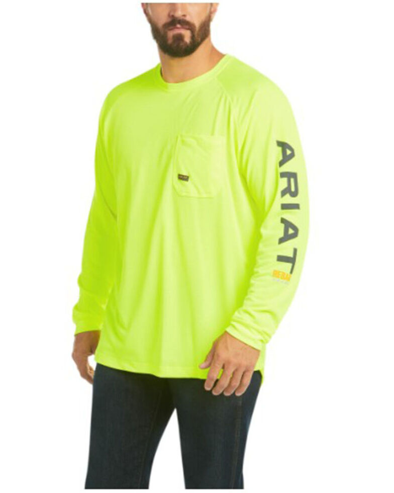 Ariat Men's Lime Rebar Heat Fighter Long Sleeve Work Pocket T-Shirt , Bright Green, hi-res