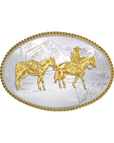 Montana Silversmiths Oval Pack Horse Belt Buckle, Multi, hi-res
