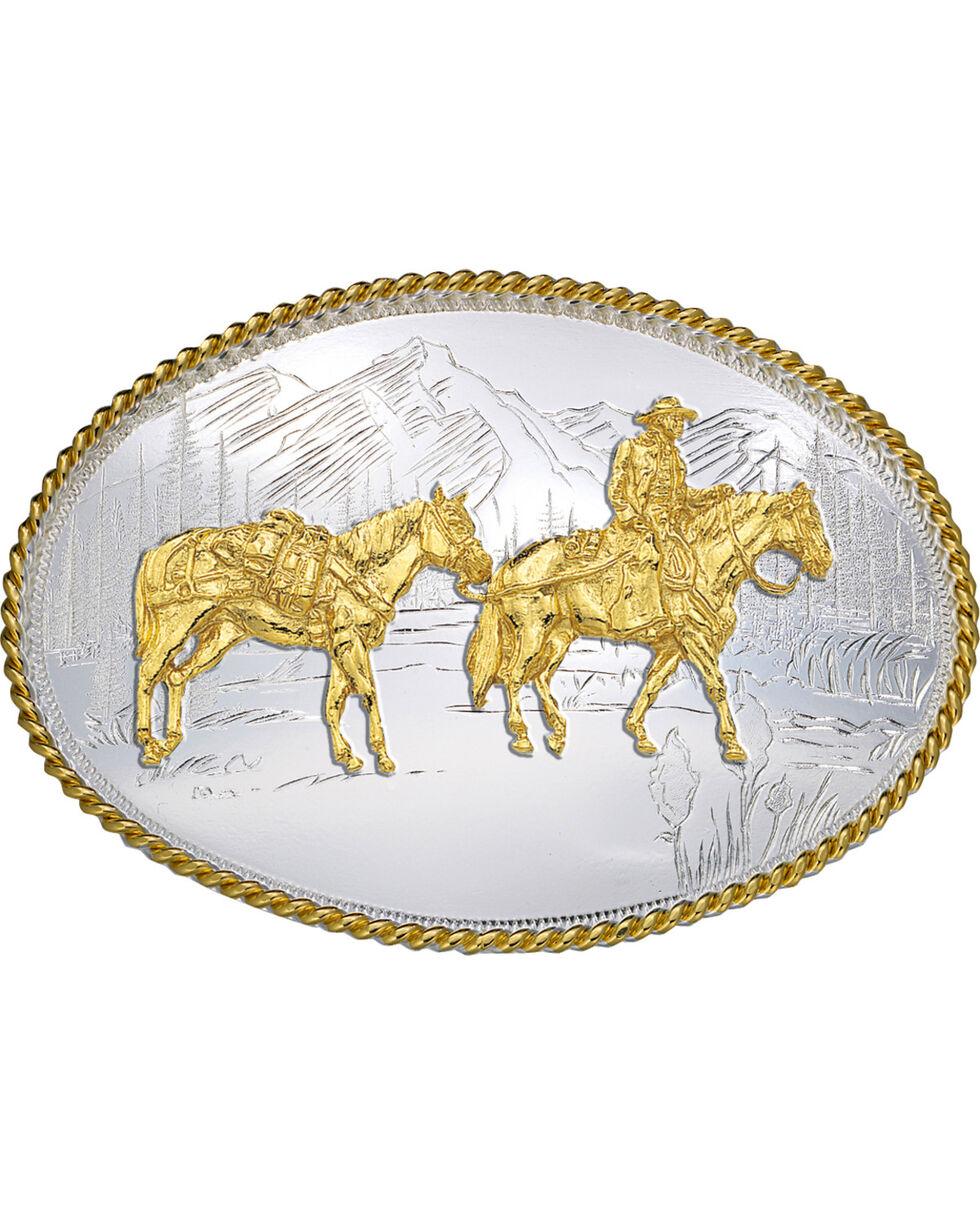 Montana Silversmiths Oval Pack Horse Belt Buckle, Multi, hi-res
