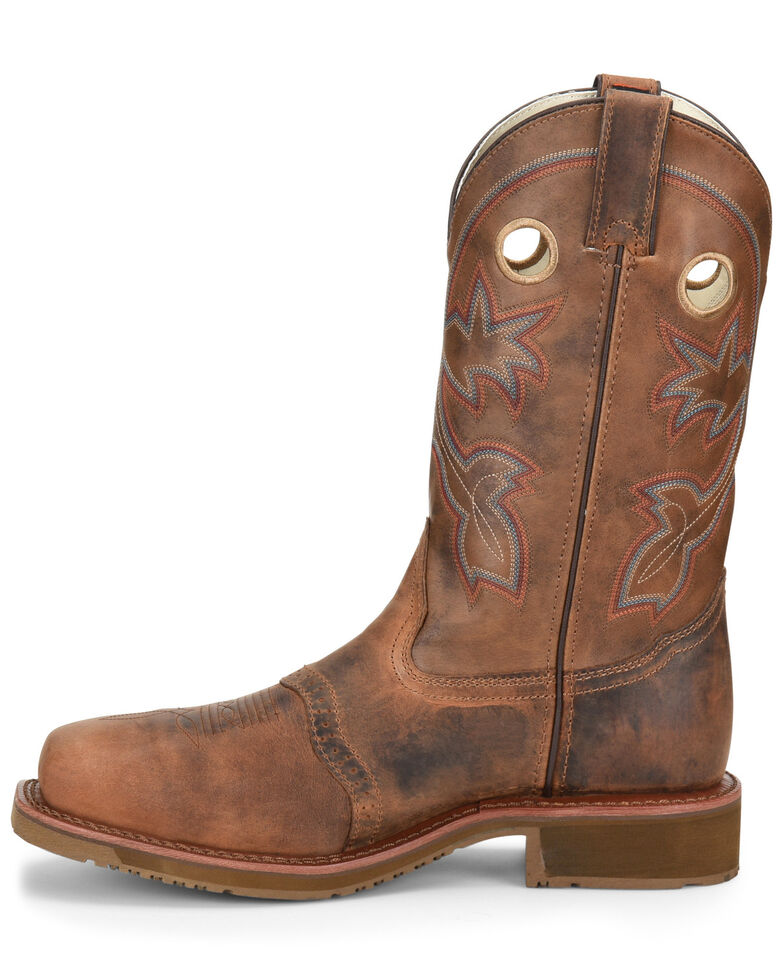 "Double H Men's 11"" Wide Square Composite Western Work Boots, Brown, hi-res"