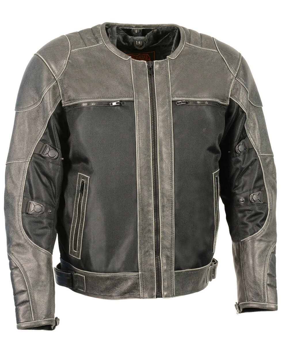 Milwaukee Leather Men's Distressed Grey Leather & Mesh Racer Jacket with Removable Rain Jacket Liner - 5X, Dark Grey, hi-res