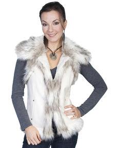 Scully Women's Suede Faux Fur Vest, Off White, hi-res