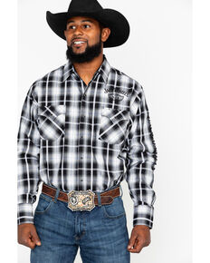 Jack Daniel's Men's Textured Embroidered Plaid Long Sleeve Western Shirt  , Black/tan, hi-res