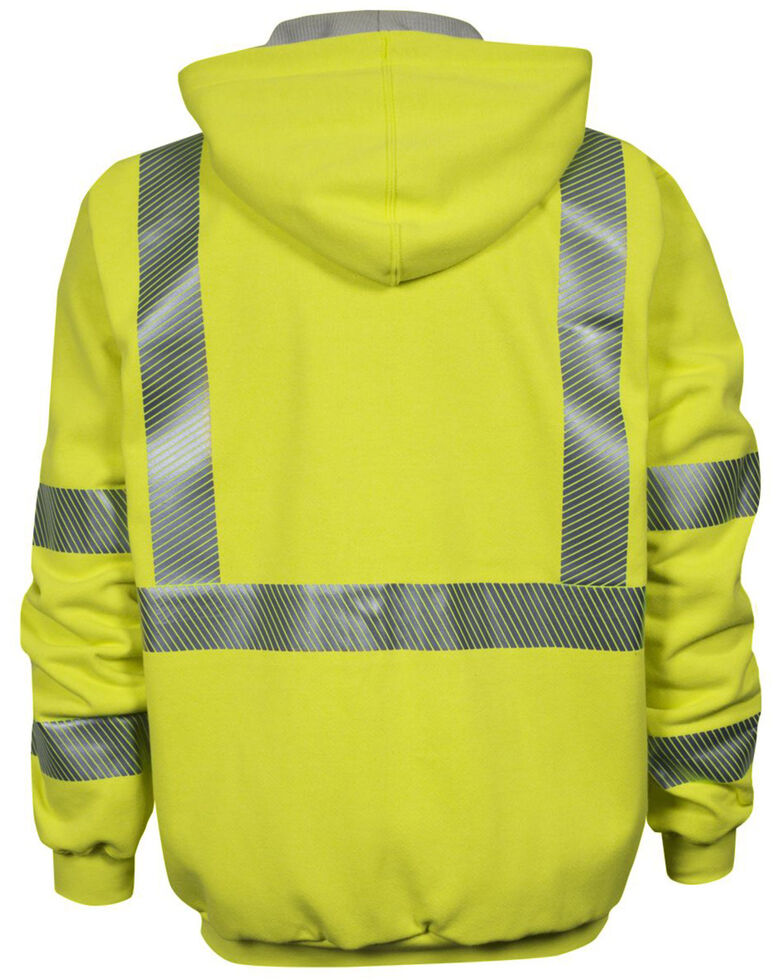 National Safety Apparel Men's 2X-3X FR Vizable Hi-Vis Waffle Weave Zip Front Work Sweatshirt - Tall, Bright Yellow, hi-res