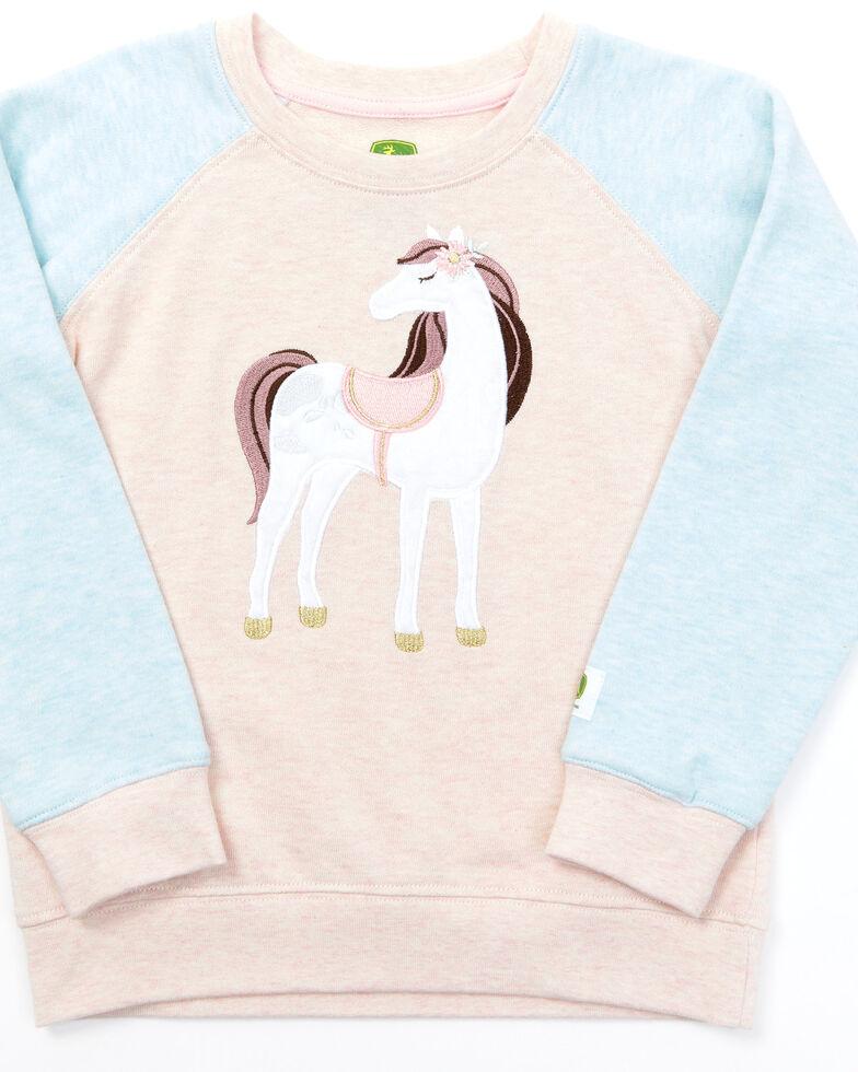 John Deere Toddler Girls' Pink Horse Long Sleeve Shirt , Pink, hi-res