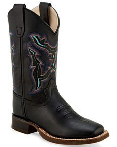Old West Boys' Shaft Embroidery Western Boots - Wide Square Toe, Black, hi-res
