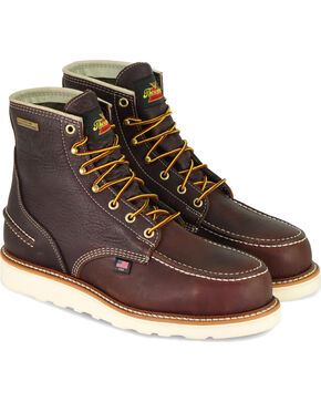 "Thorogood Men's Brown 6"" American Heritage Waterproof Work Boots - Steel Toe , Brown, hi-res"