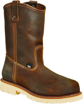 "Thorogood Men's 11"" American Heritage MAXwear 90 Wellington Work Boots - Soft Toe, Brown, hi-res"