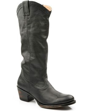 Stetson Women's Hand Burnished Ficcini Western Boots, Black, hi-res