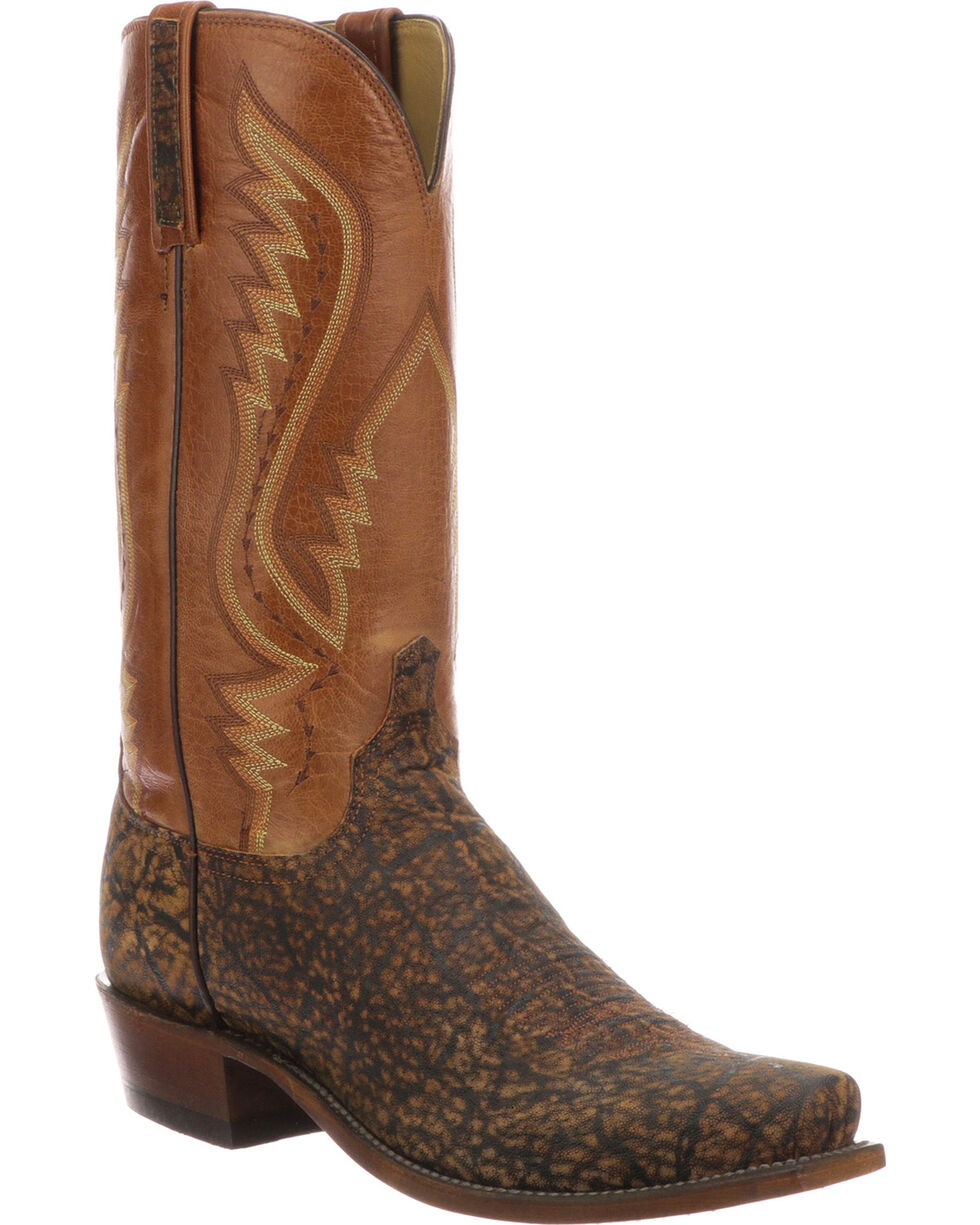 Lucchese Men's Handmade Creighton Cognac Elephant Cowboy Boots - Square Toe, Cognac, hi-res