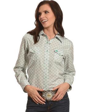Cinch Women's Purple Diamond Long Sleeve Snap Shirt, Purple, hi-res