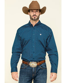 Cinch Men's Blue Small Geo Print Long Sleeve Western Shirt , Blue, hi-res