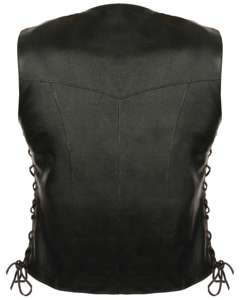 Milwaukee Leather Women's Classic Side Lace Four Snap Vest - 4XL, Black, hi-res