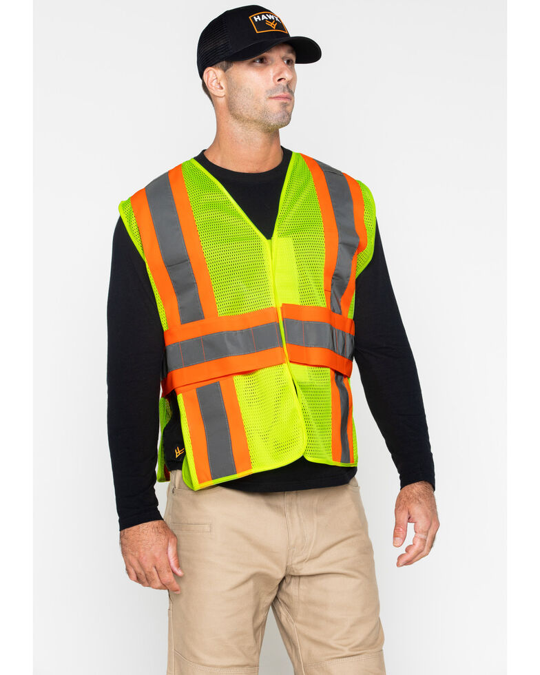 Hawx Men's 2-Tone Mesh Work Vest, Yellow, hi-res