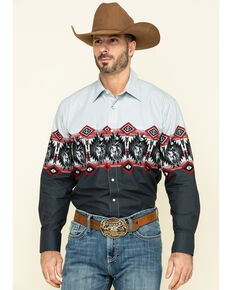 Panhandle Men's Charcoal Aztec Scenic Border Print Long Sleeve Western Shirt , Charcoal, hi-res