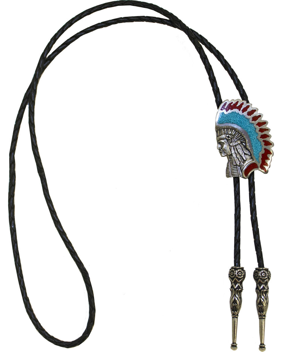 Western Express Men's Indian Chief Bolo Tie, Silver, hi-res
