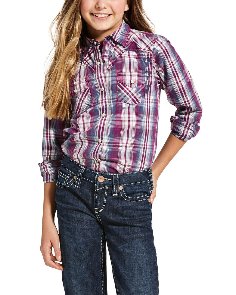 Ariat Girls' R.E.A.L. Imperial Violet Incredible Long Sleeve Shirt, Purple, hi-res