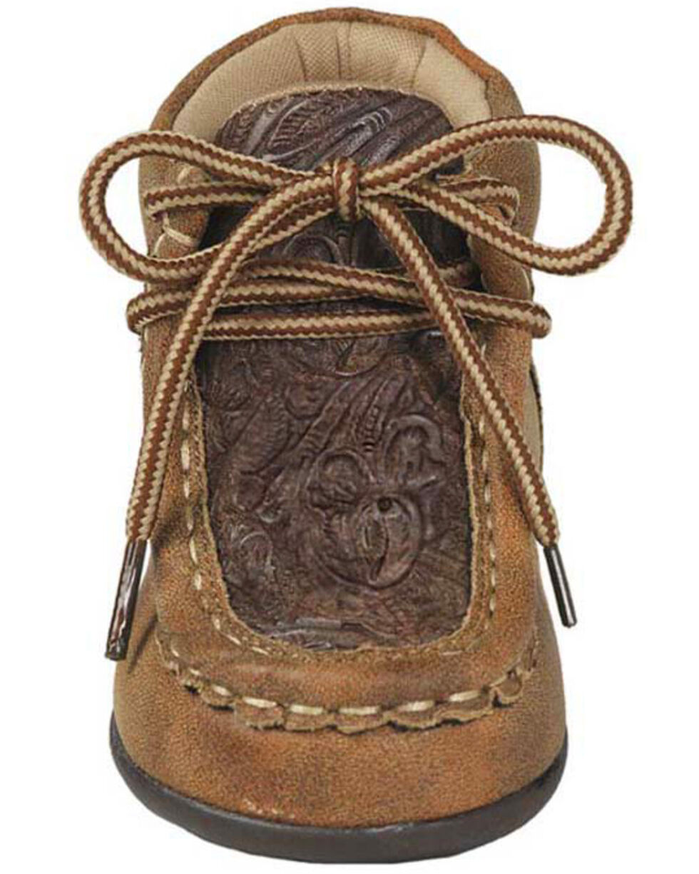 M&F Western Infant Boys' Lace-Up Moccasin Slippers - Moc Toe, Tan, hi-res
