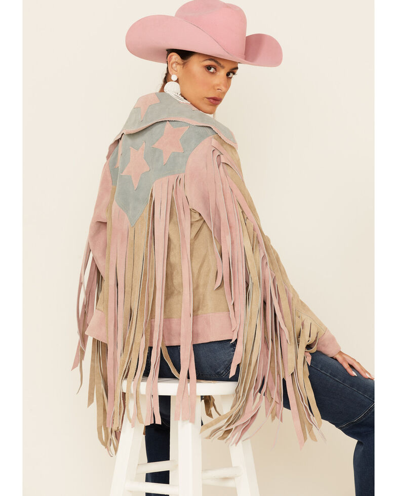 Understated Leather Women's Tan American Woman Fringe Snap-Front Suede Jacket , Tan, hi-res