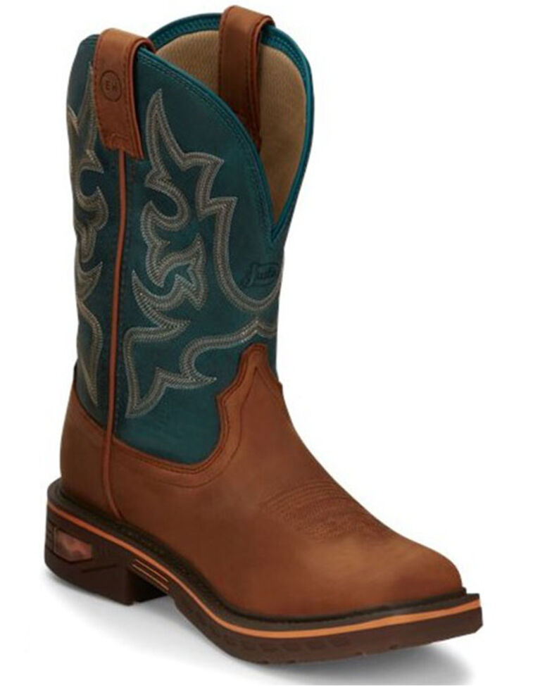 Justin Men's Resistor Western Work Boots - Soft Toe, Brown, hi-res