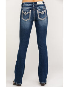 "Miss Me Women's Dark Faux Flap 34"" Bootcut Jeans, Blue, hi-res"