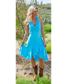Scully Women's Ruffled Halter Dress, Turquoise, hi-res