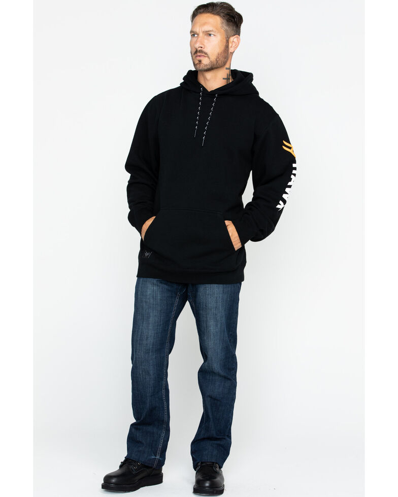Hawx® Men's Logo Sleeve Pullover Work Hooded Work Sweatshirt - Tall , Black, hi-res