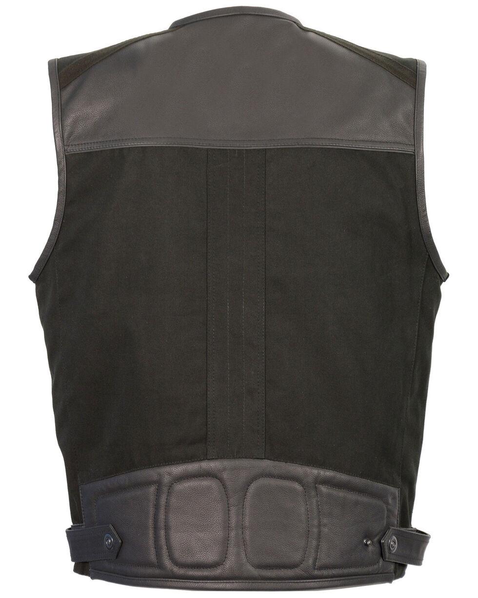 Milwaukee Leather Men's Leather & Canvas Zipper Front Super Utility Multi Pocket Vest - 3X, Black, hi-res